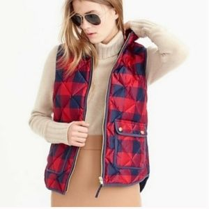 J Crew | L Quilted Buffalo Check Excursion Vest